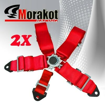 2x (Pair) Jdm 3'' Inch Nylon Strap 5 Point Camlock Racing Seat Belt Harness Red