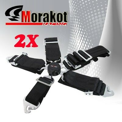 "2x God Snow 5 Point Camlock 3"" inch Nylon Quick Release Seat Belt Harness Black"