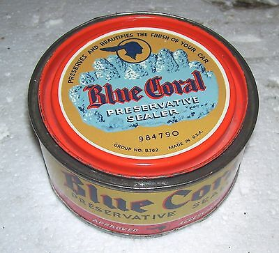 Vintage Pontiac Blue Coral can -- very nice-- GM General Motors 1950s