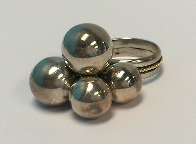 Vintage Amedeo Argento Tanagro Ciro Sterling Silver & 18K Gold Ball Bead Ring
