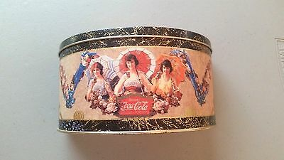 """Half Moon Coca Cola Tin - """"the Drink Of All The Year"""" Written On Lid"""