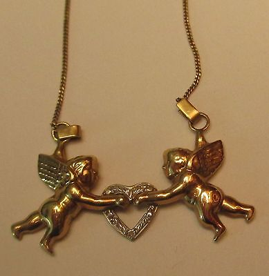 Beautiful 10K Yellow Gold Angel Heart Necklace
