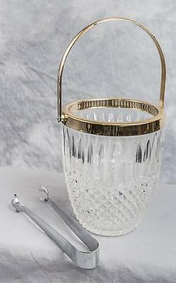 Vintage F.B. Rogers Silver Co. Crystal Cut Glass Ice Bucket made in Italy jds