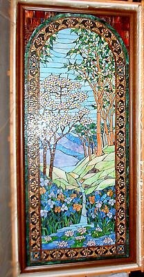 """Huge Hand Made Tiffany Stained Glass Window 9'x4'6"""", Waterfall And Flowers"""