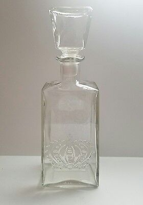 Vintage Crown Royal Glass Liquor Decanter Bottle With Embossed Thatcher Crown