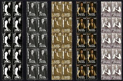 Walter Lindrum Billiard Icon Set Of 5 Mint Stamp Strips