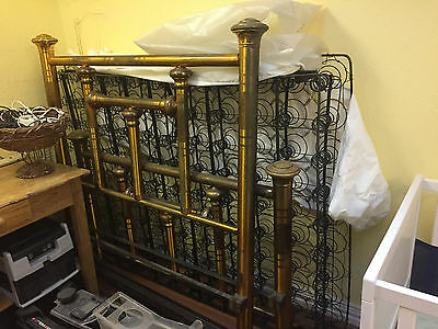 vintage brass bed frame full size includes side rails and coil support