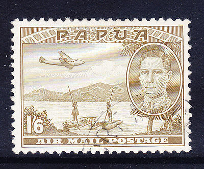 PAPUA George VI 1941 SG168 1/6 olive-green - very fine used. Catalogue £42