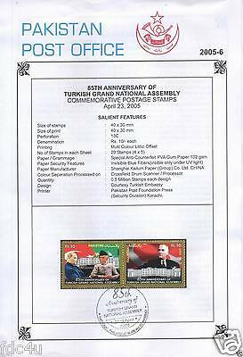 Pakistan Fdc 2005 First Day Brochure & Stamp Turkish Assembly Kemal Ataturk .