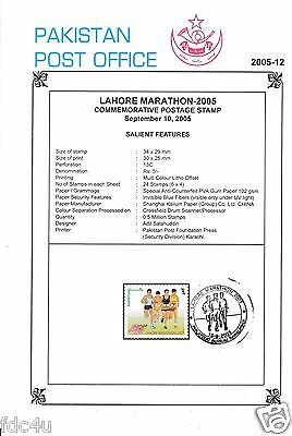 Pakistan Fdc 2005 First Day Brochure & Stamp Lahore Marathon – 2005