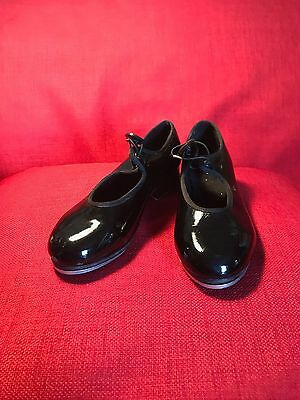 Bloch Girls Black Patent Tap Shoes Size 12 1/2 Dance Excellent Condition