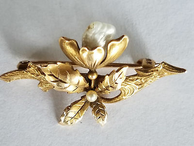 10K Yellow Gold Art Nouveau Flower Brooch Pin w/ Mississippi Pearl