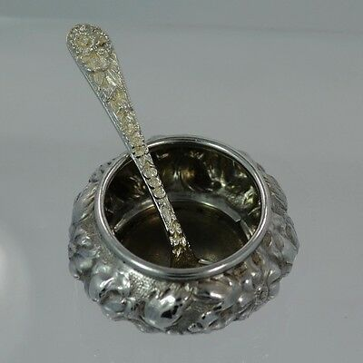 Sterling Silver Stieff Repousse Salt Cellar Dated 1930 & S Kirk & Son Salt Spoon