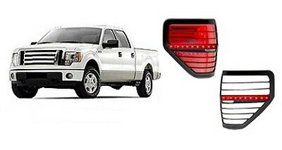 Ford F-150 Black Led Tail Light Bezel Trim Covers 2Pc Overlay