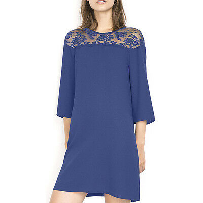 Blue S Womens Summer Casual Short Sleeve Lace Tunic Dress Evening Cocktail Dress