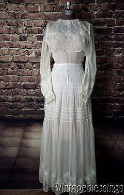 Antique Edwardian Embroidered French Net Lace Tea Dress Bridal Wedding