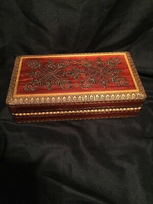 Vintage Handcrafted Wood Box Inlay Carved Flowers Hearts Jewelry Trinket Poland