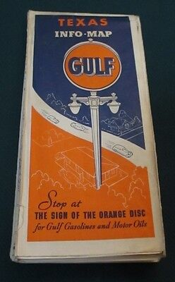 1938 GULF Oil Gas Stations TX Texas Road Map