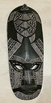 HAND CARVED WOOD FIJIAN WALL FACE  MASK 44cm