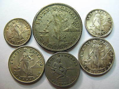 Philippines 5 Silver Coins And A C/n Circulated Coin Lot, Toned, Better Grade,