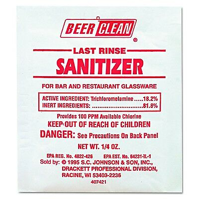 Diversey Beer Clean Last Rinse Glass Cleaner and Sanitizer Powder (0.25-Ounce...