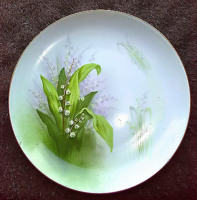 """Limoges Hand-Painted Lilies of Valley Plate 8½"""" MINT CMC France Gold Trim ANT"""