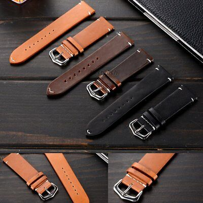 Calfskin Genuine Leather Smart Watch Band Strap 20mm For Pebble Time Round