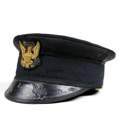 M1895 M95 Us Army Officer Forage Cap Hat W/ Bullion Insignia And Rain Cover