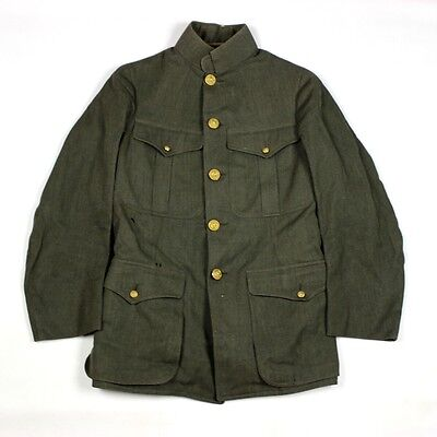Rare Us Navy / Usn Naval Wwi Era Green Wool Gabardine Jacket Tunic Coat Usmc