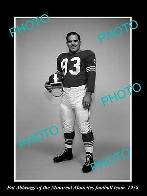 Old Large Historic Photo Of Montreal Alouettes Football Star Pat Abbruzzi 1958