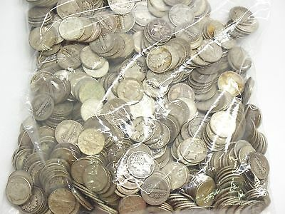 Lot Of 650 Mercury And Roosevelt 90% Silver Dimes $65.00 Face Value