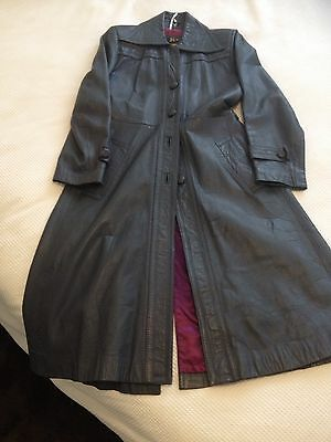 Women's 1970's vintage leather trench coat size 10-12 Dark Blue Grey