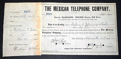 The Mexican Telephone Company Stock Certificate 75 Shares 1886