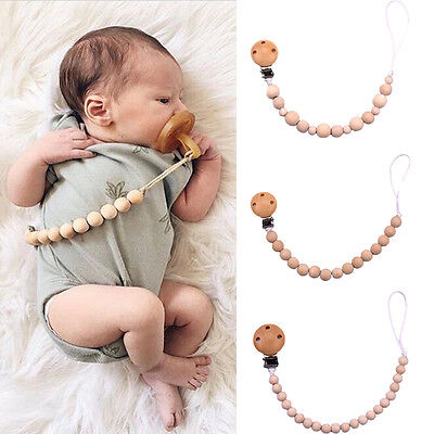 AU Babys Teething Soother Pacifier Holder Clip Wooden Beads Nipple Strap Chain