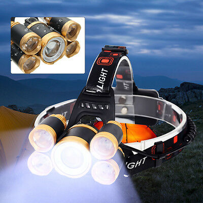 Elfeland 35000LM Zoomable 5 LED Headlamp Head Light Lamp Torch T6 + 4*XPE LED