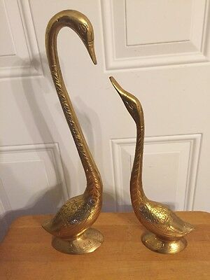 "Vintage Pair of  Large Brass Swan Figurine ~Male and Female - 17.5"" & 14"" Tall"
