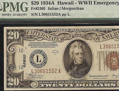 1934 A $20 DOLLAR BILL WWII HAWAII BROWN SEAL FED NOTE CURRENCY Fr 2305 PMG 45