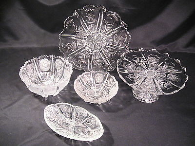 EAPG Paneled Delta Canadian Thistle Group of 5