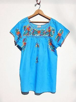 Vintage MEXICAN Top~Turquoise Embroidered Oaxacan Festival Hippie Blouse~M/L