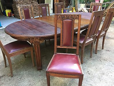 Antique French Extension Dining Table & 8 Chair