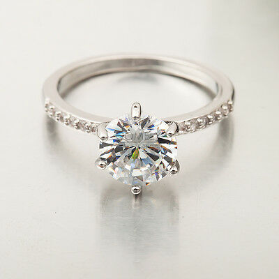 Crystal CZ 10K White Gold Filled Ring Wedding Bride Engagement Jewelry Size 6-9