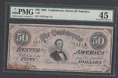 T-66  $50  1864 Confederate States of America   PMG Choice Extremely Fine 45