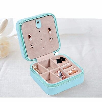 Jewelry Storage Travel Case Box Display Organizer Earring Necklace Ring Blue