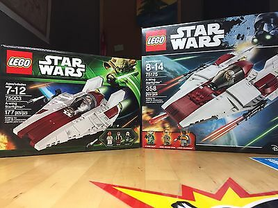 Lego Star Wars TWO A-wing Starfighters (75003+75175) new and old versions
