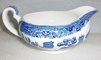 30's Blue & White Old Willow Pattern Sauce/Gravy Boat - Made in England