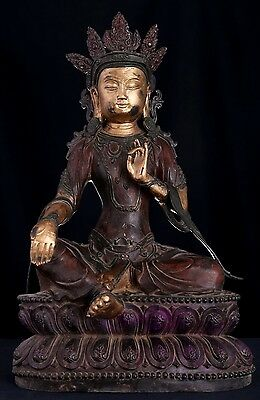 Very Large Heavy Chinese Antique Bronze Buddha Statue Marked QianLong AB063