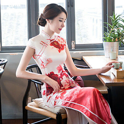 High Quality Vintage Chinese Cheongsam Women Dress Real Silk Red Peony Flower