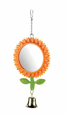 Double Sided Sunflower Mirror with Bell 13cm Budgie Canary Finch Bird Cage Toy