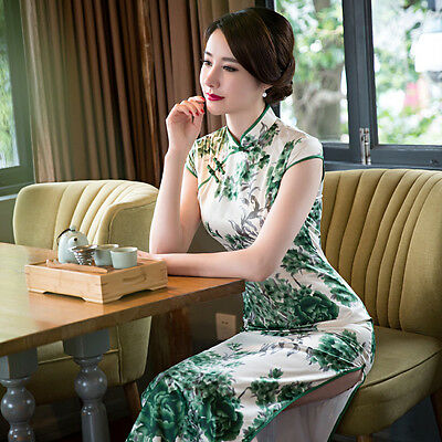 High Quality Vintage Chinese Cheongsam Women Dress Real Silk Green Peony Flower