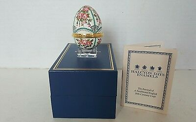 Halcyon Days Enamels Roses and Bells Congratulations Enamel Egg with box, stand